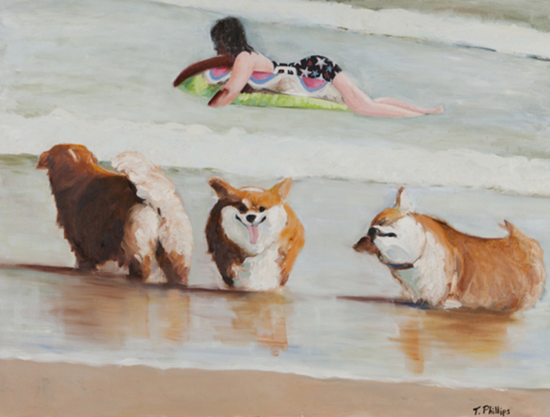 Corgies, oil on canvas, 36 x 48 inches
