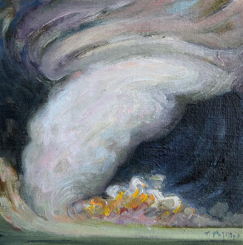 Night Twister - oil on canvas board, 6x6 inches